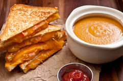 Tomato chickpea soup and grilled cheese and tomato sandwiches Royalty Free Stock Photo