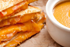 Tomato chickpea soup and grilled cheese and tomato sandwiches Stock Photos