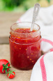 Tomato and Chili Jam in a Clear Jar Royalty Free Stock Image