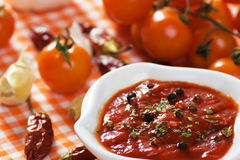 Tomato and chili pepper sauce Stock Photo