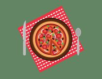 Tomato chillie onion Pizza in a plate with a spoon and table knife. Pizza in a plate on a red checked table cloth with a spoon and table knife stock illustration