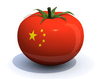 Tomato with chinese flag Stock Photo