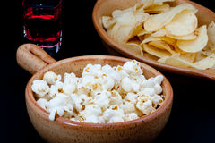 Tomato chips, pop corn and drink Royalty Free Stock Photos