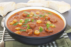 Tomato Chorizo Chickpea Soup Stock Image