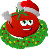 Tomato with Christmas wreath and Santa hat Stock Images