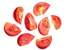 Tomato chunks halved slices salted Stock Image