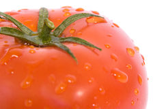Tomato close up. Wet, red tomato close up royalty free stock photography