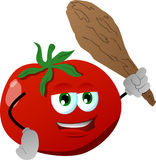 Tomato with a club Royalty Free Stock Image