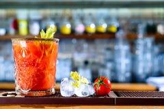Tomato cocktail on the bar counter. Selective focus stock photos