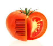 Tomato coded to represent product identification. On white background Royalty Free Stock Photos