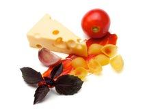 Tomato, conchiggle, basil Royalty Free Stock Photography