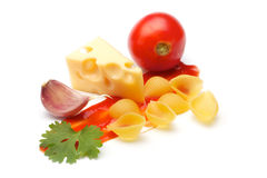 Tomato, conchiggle, cheese, garlic, parsley, ketch Stock Photos