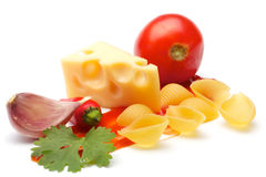 Tomato, conchiggle, cheese, garlic, parsley, ketch Royalty Free Stock Photo