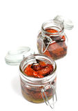 Tomato confit. Dry tomatoes with olive oil in jar Royalty Free Stock Photography