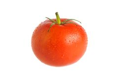 A tomato covered by water drops isolated on white Royalty Free Stock Photo
