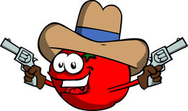 Tomato cowboy with gun Royalty Free Stock Photos