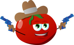 Tomato cowboy with gun Royalty Free Stock Images