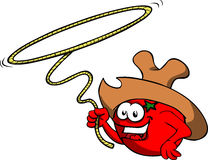 Tomato cowboy with lasso Royalty Free Stock Photo