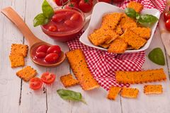 Tomato crackers. stock photography