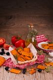 Tomato crackers. royalty free stock images