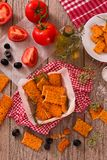 Tomato crackers. royalty free stock image