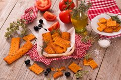 Tomato crackers. royalty free stock photo