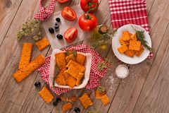 Tomato crackers. stock photos