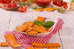 Tomato crackers. stock photo