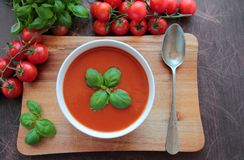 Tomato cream soup Stock Photos