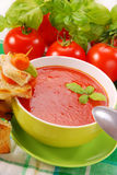 Tomato cream soup with croutons Royalty Free Stock Image