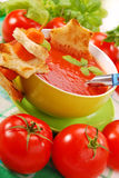 Tomato cream soup with croutons Royalty Free Stock Photos