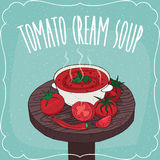 Tomato cream soup with fresh vegetables Stock Photography