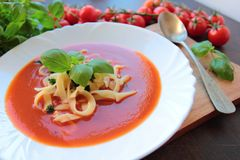 Tomato cream soup Royalty Free Stock Image