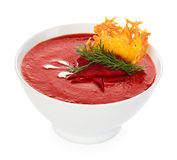 Tomato cream soup with parmesan crisps Royalty Free Stock Photos