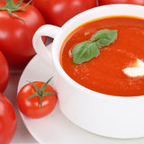 Tomato cream soup with tomatoes in bowl healthy eating Royalty Free Stock Images