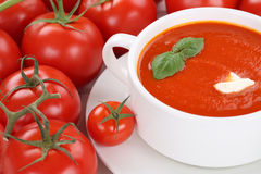 Tomato cream soup with tomatoes in bowl Royalty Free Stock Image