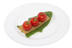 Tomato on crouton and a leaf spinach in a plate Stock Images