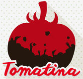 Tomato with Crowd Inside of it Celebrating Tomatina Festival, Vector Illustration. Poster in flat stile and long shadow with red tomato silhouette and crowd Stock Photography