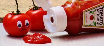Tomato Crying on Tomato Ketchup Royalty Free Stock Photography