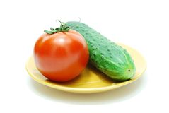 Tomato and Cucumber Stock Image