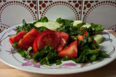 Tomato,cucumber and arugula salad Royalty Free Stock Photos