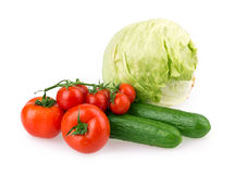 Tomato, cucumber, cabbage Stock Photography