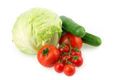 Tomato, cucumber, cabbage Stock Images