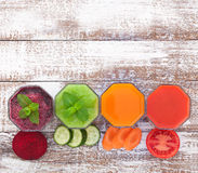 Tomato, cucumber, carrot, beet Juice and Royalty Free Stock Photography