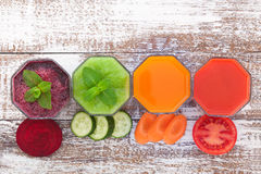 Tomato, cucumber, carrot, beet Juice and vegetables Royalty Free Stock Photography