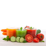 Tomato, cucumber, carrot Juice and vegetables Royalty Free Stock Images