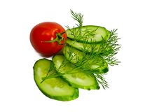 Tomato cucumber dill Stock Photo