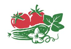 Vegetable from farm. Tomato and cucumber icon. Vegetable from the farm Royalty Free Stock Images