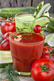 Tomato and cucumber  juices Stock Photo