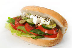Tomato, cucumber & mint cheese Sandwich Stock Photo